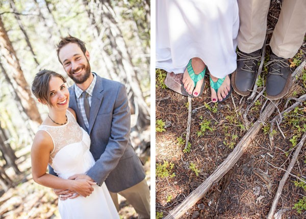 Rugged Mountain Wedding in Colorado | the bride wore flip flops / photo by Grace Combs Photography