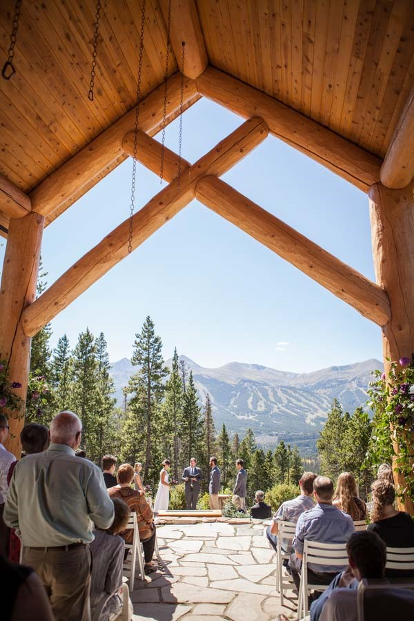 Rugged Mountain Wedding in Colorado / Gorgeous Ceremony View / photo by Grace Combs Photography
