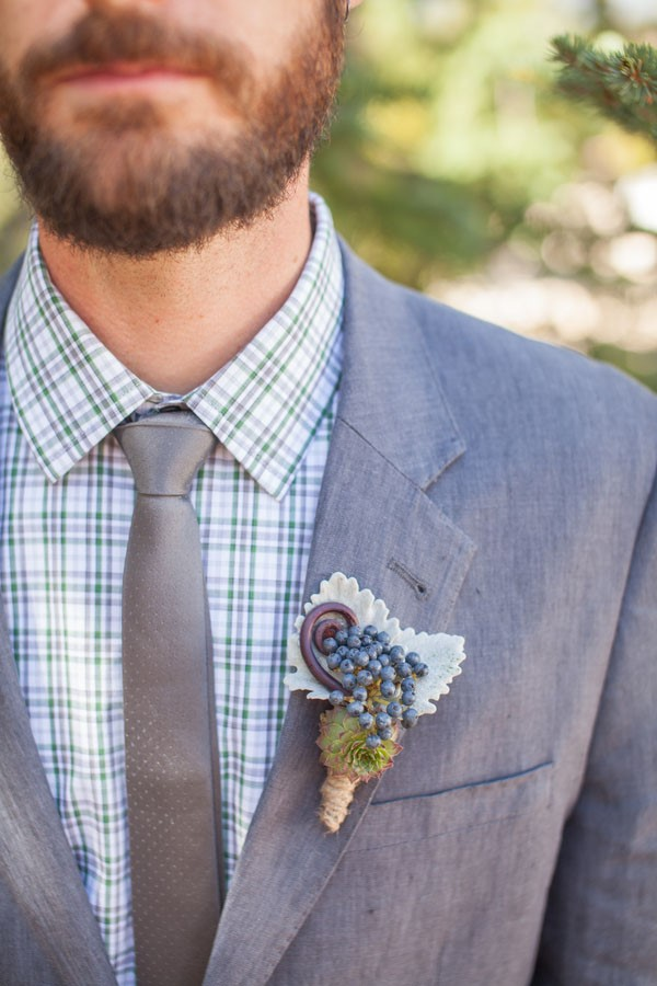 Rugged Mountain Wedding in Colorado / Rustic Boutonniere / photo by Grace Combs Photography