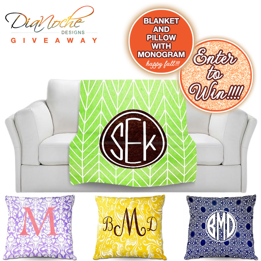 Last Day to Enter To Win a Personalized Fleece Blanket and Pillow from DiaNoche on www.brendasweddingblog.com