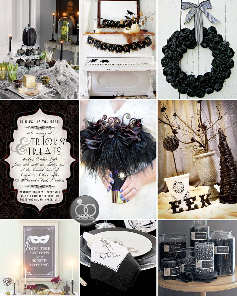 A Unique and Stylish Halloween Wedding Inspiration Board / from www.BrendasWeddingBlog.com
