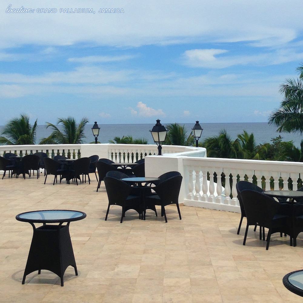 Destination Wedding and Honeymoon Location : Grand Palladium, Jamaica - the balcony spot. Wouldn't the wedding cocktail hour be great here? / See all the details on www.BrendasWeddingBlog.com