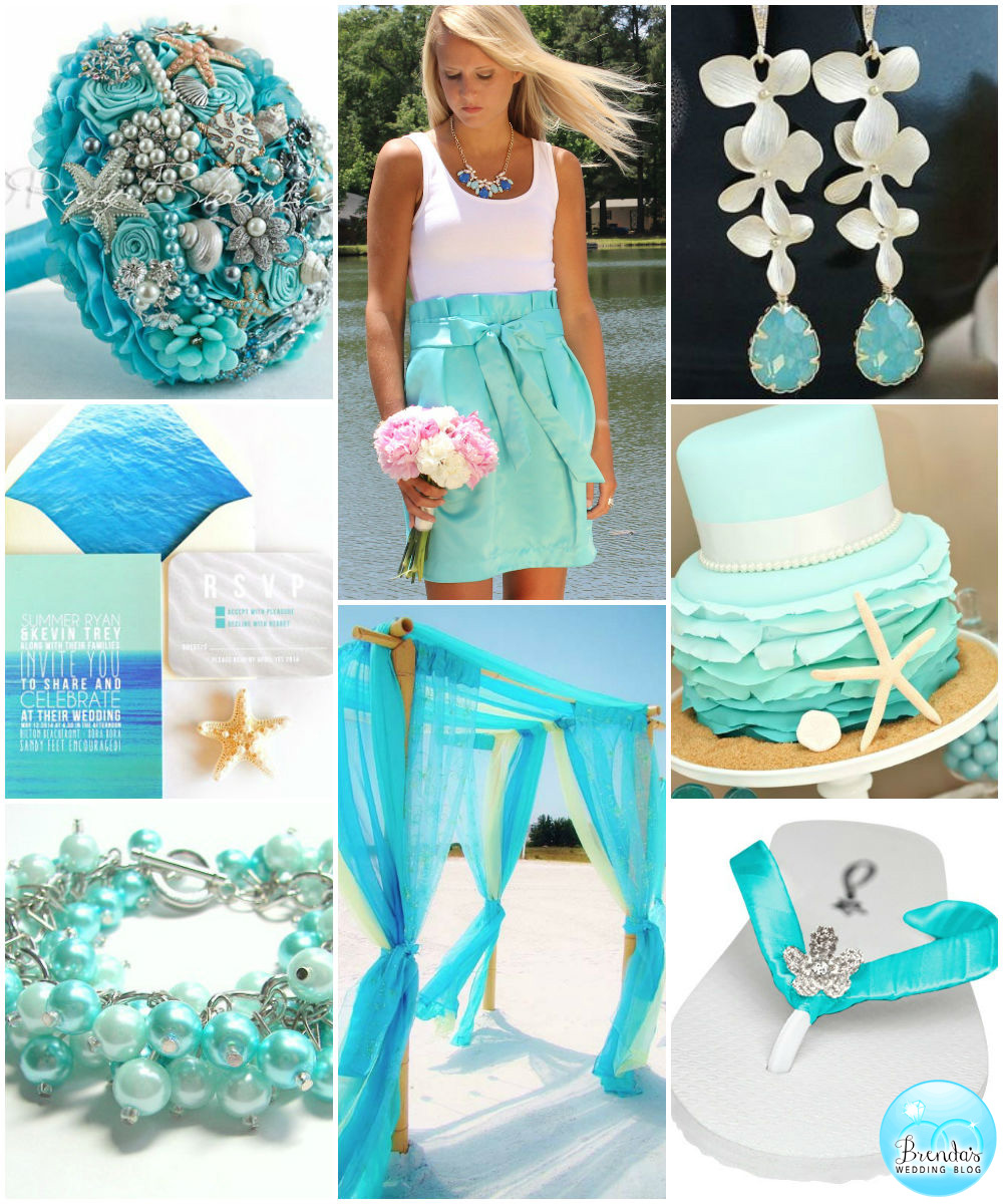 Aqua Blue Tropical Wedding Inspiration Board / as seen on www.BrendasWeddingBlog.com