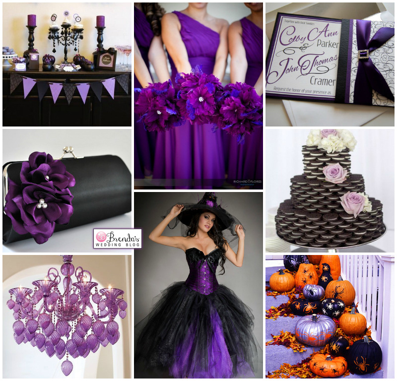Purple and Black Halloween Wedding Inspiration Board with a cookie cake and a light up dress / as seen on www.BrendasWeddingBlog.com