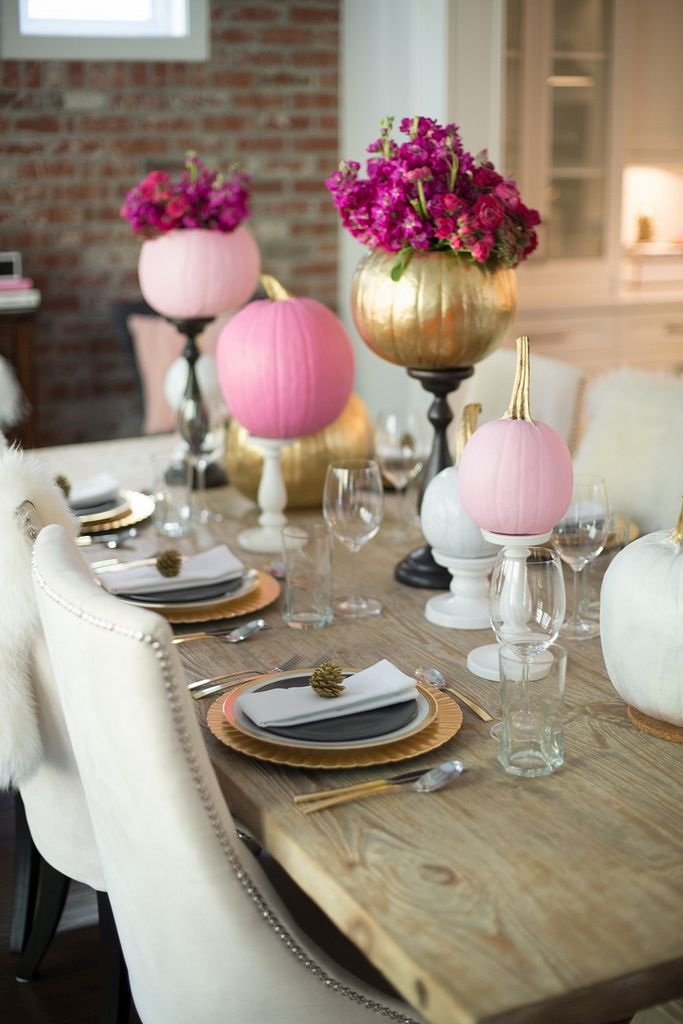 Fall Wedding and Bridal Shower Decorating Idea : Paint Pumpkins Pink, White and Gold and Display on Candlesticks / from Alicia Fashionista / as seen on www.BrendasWeddingBlog.com
