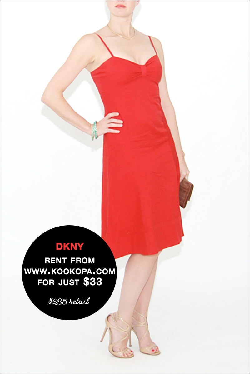 Rent this DKNY Red Cocktail Dress from www.Kookopa.com for just $33 / read all about it on www.BrendasWeddingBlog.com