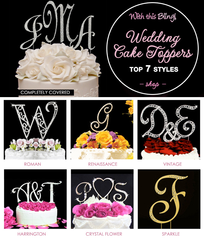 Top 7 Wedding Cake Topper Styles from With this Bling / as seen on www.BrendasWeddingBlog.com