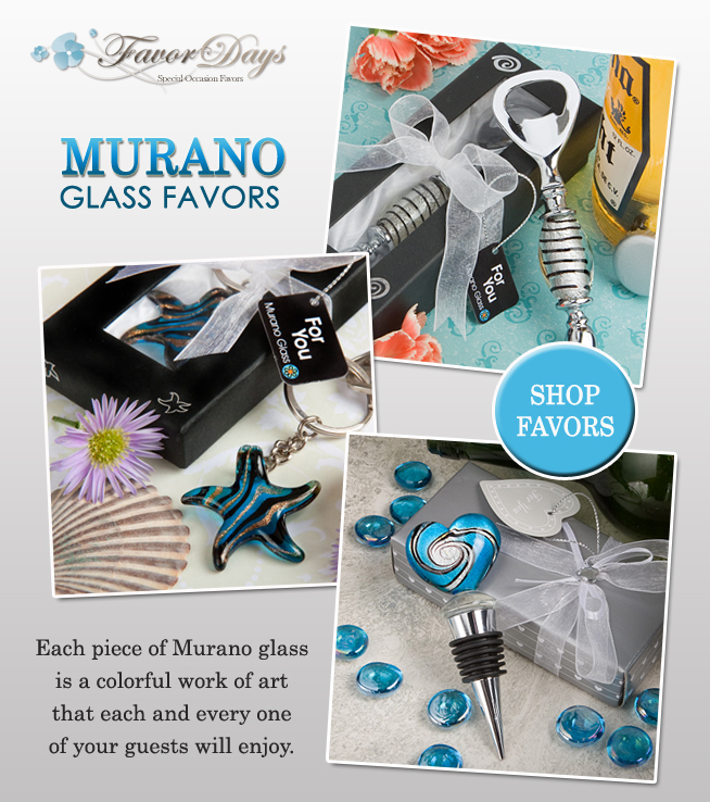 Murano Glass Wedding Favors : colorful works of art to wow your guests with / as seen on www.BrendasWeddingBlog.com