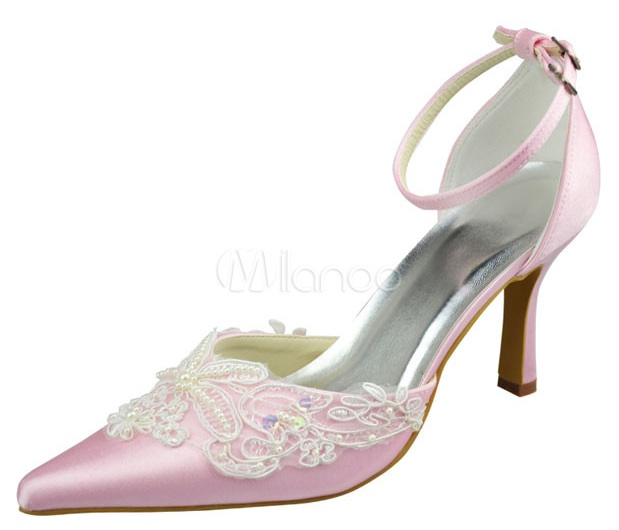 High Heel Pink Lace Applique Satin Platform Wedding Shoes