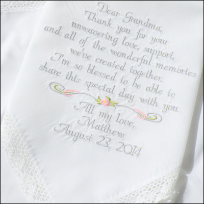 Custom Wedding Hankerchief - Embroidered Hankies for Wedding Keepsakes / as seen on www.BrendasWeddingBlog.com