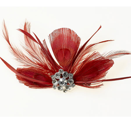 Elegant Red Feather Hair Clip