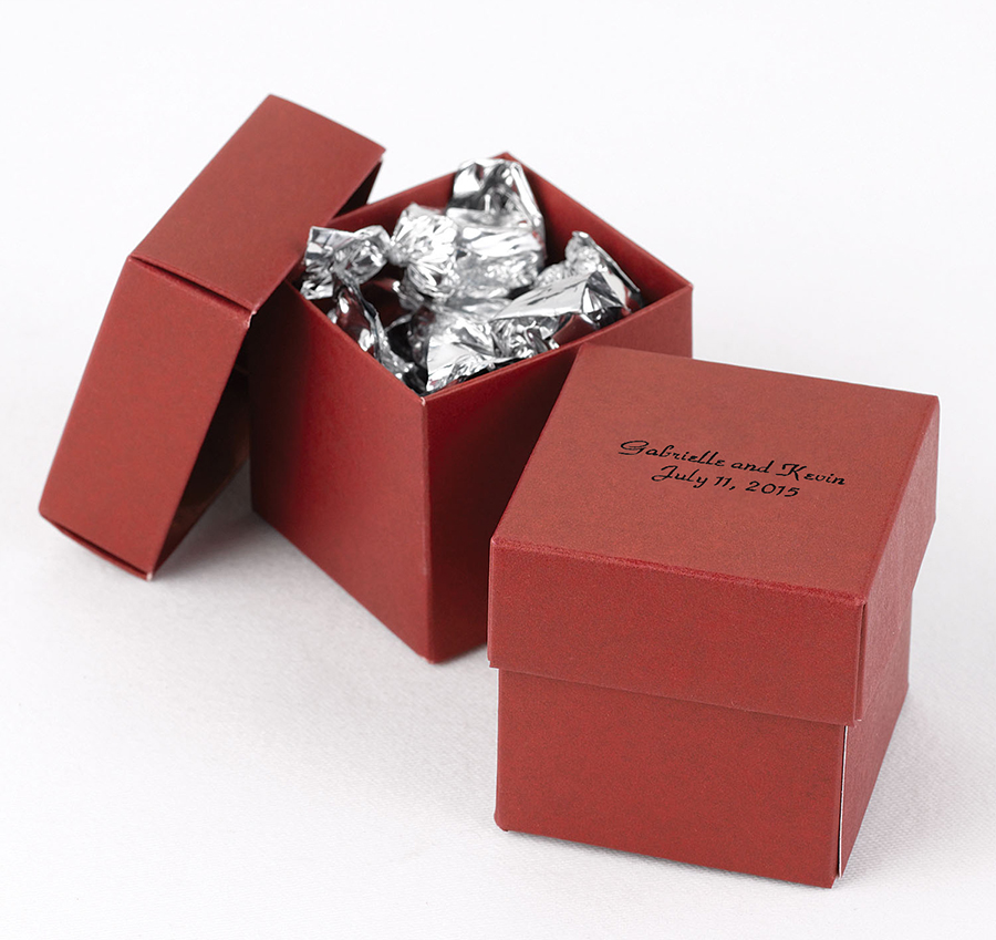 Wedding Favor Boxes in Marsala - the Pantone Color of the Year for 2015