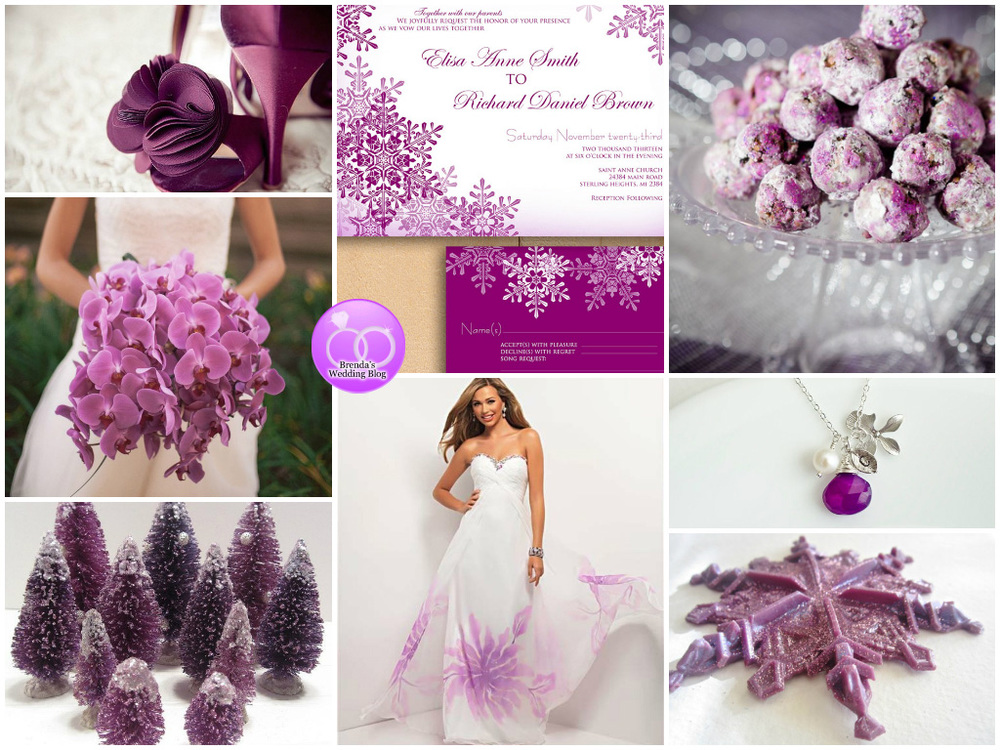 A Purple Winter Wedding Inspiration Board with Snowflakes / as seen on www.BrendasWeddingBlog.com #radiantorchid