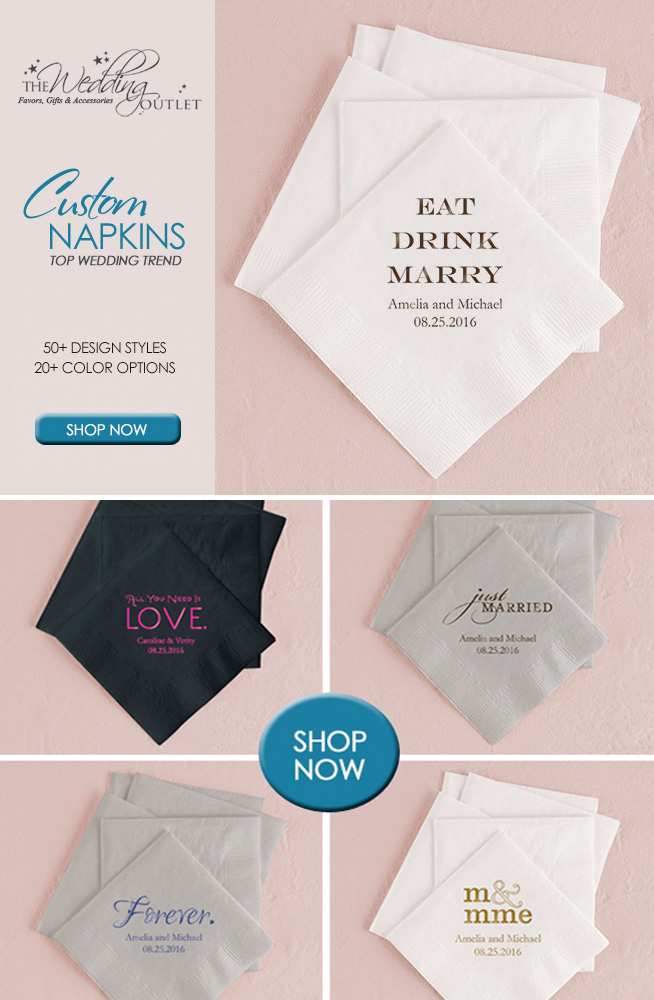 Personalized wedding napkins remain a top wedding trend year after year / as seen on www.brendasweddingblog.com