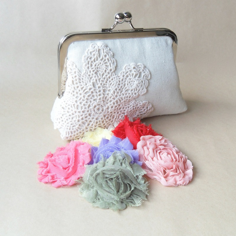 An Adorable Handcrafted Clutch - the perfect size and shape for any use . . . clutch, cosmetic bag, purse organizer / from Paper Flora / as seen on www.BrendasWeddingBlog.com