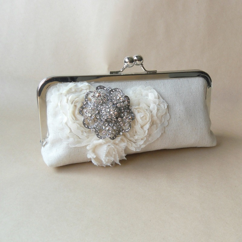 Handcrafted Bridal Clutch Bag with Fabric Flowers and a Removable Rhinestone Brooch / from Paper Flora / as seen on www.BrendasWeddingBlog.com