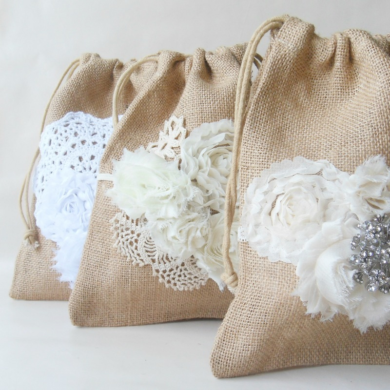 Handcrafted Drawstring Dollar Dance Burlap Bag | makes a great purse for rustic weddings / from Paper Flora / as seen on www.BrendasWeddingBlog.com