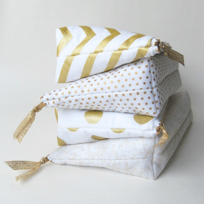 Handcrafted Gold Bridesmaids Wedding Clutch - also great as a cosmetic bags / from Paper Flora / as seen on www.BrendasWeddingBlog.com