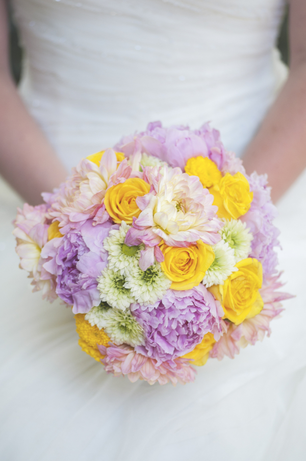 Gorgeous Pink and Yellow Wedding Bouquet from Tailored Blooms Floral Design / photo by L'Estelle Photography / as seen on www.BrendasWeddingBlog.com