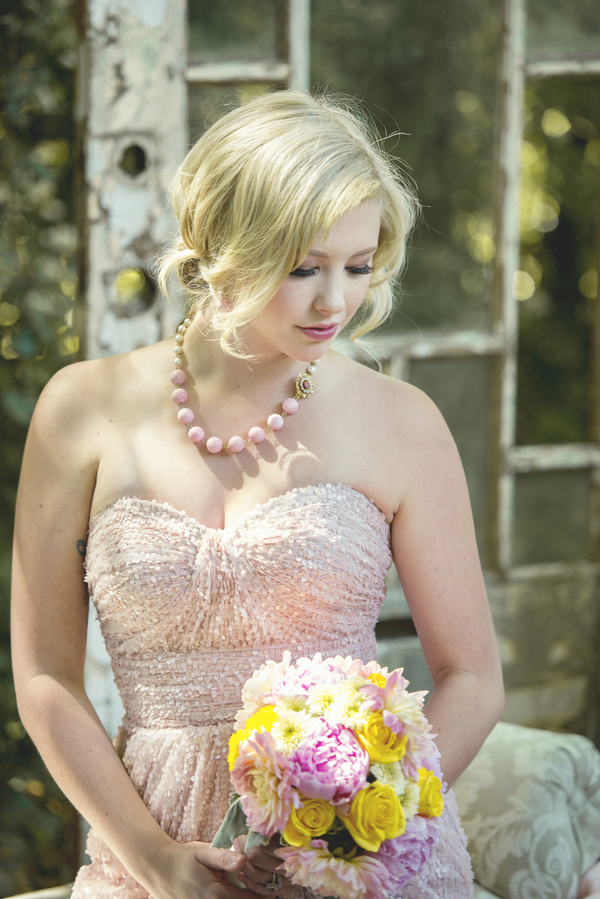 LOVE this pink sequin dress with pretty pink statement necklace / styled by D'Love Affair Weddings & Events / photo by L'Estelle Photography / as seen on www.BrendasWeddingBlog.com