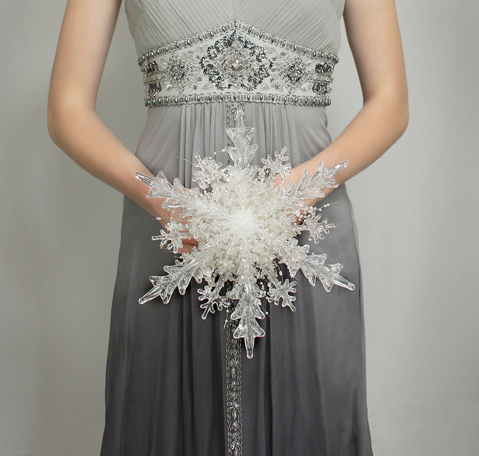 Crystal Snowflake Bridal Bouquet Alternative - perfect for Winter and/or Christmas Weddings / from Bridal Bouquets by Ky / as seen on www.BrendasWeddingBlog.com