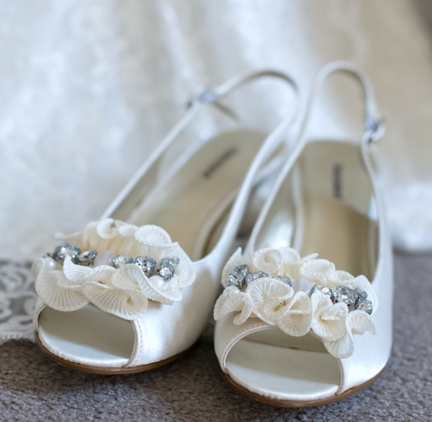 Wedding Shoes with Ruffles and Rhinestones | photo by Tracey Ann Photography / as seen on www.BrendasWeddingBlog.com