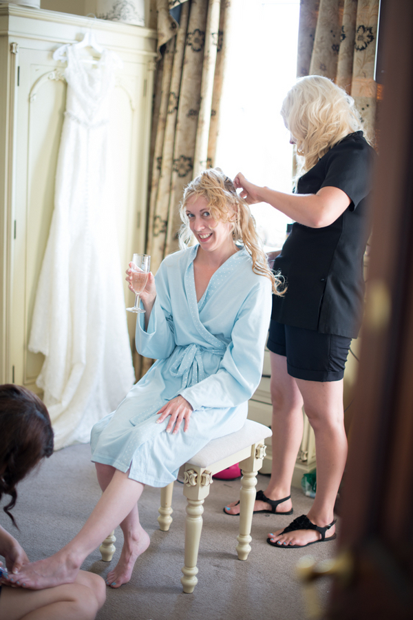 "Bride Getting Ready in her ""something blue"" Robe 