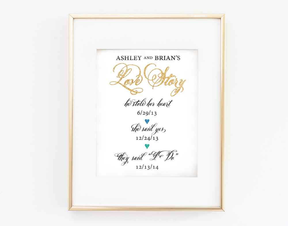 Custom Wedding Gift / Personalized Wedding Love Story Printable / available on etsy from WeddingGirl / as seen on www.BrendasWeddingBlog.com