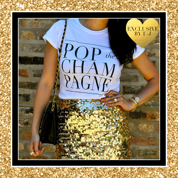 Pop the Champagne Tee by T&J Designs - perfect for the Bachelorette Party Night / as seen on www.brendasweddingblog.com