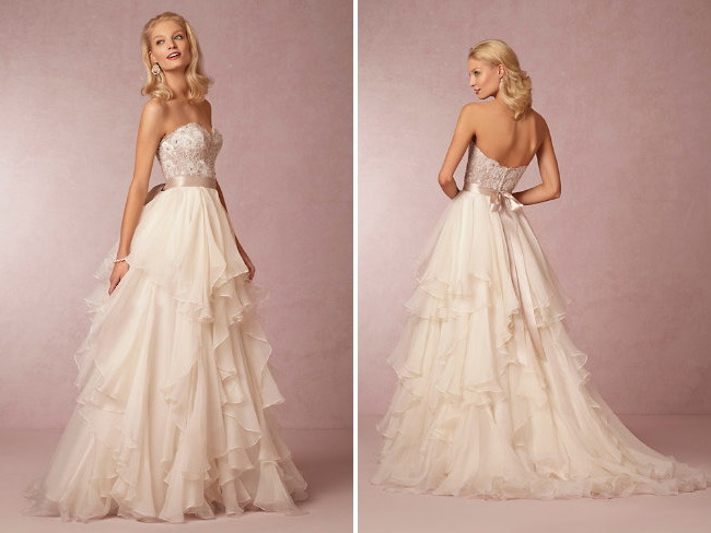 BHLDN Wedding Gown : Maelin Corset and Priya Skirt {ruffled textured dresses are a hot trend for 2015 weddings} / as seen on www.BrendasWeddingBlog.com