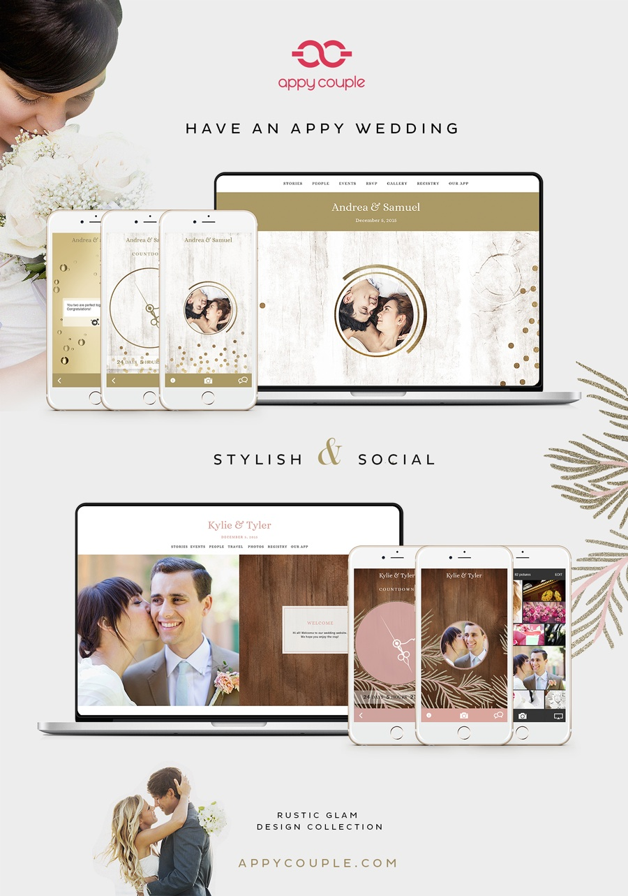The Most Stylish Wedding WEbsite and App in one - manage and share the details of your wedding in style with Appy Couple / as seen on www.brendasweddingblog.com {discount offer on blog}