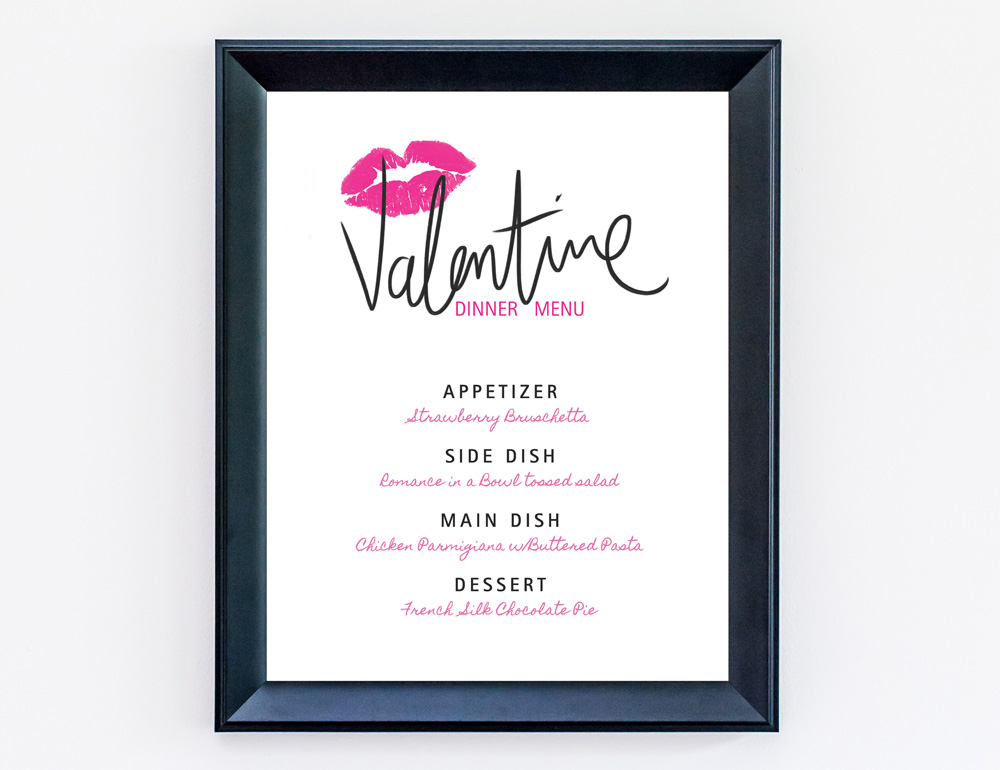 Download your Free Valentine's Day Dinner Menu - comes blank so you can fill in the spaces for the appetizer, side dish, main dish and dessert / as seen on www.BrendasWeddingBlog.com
