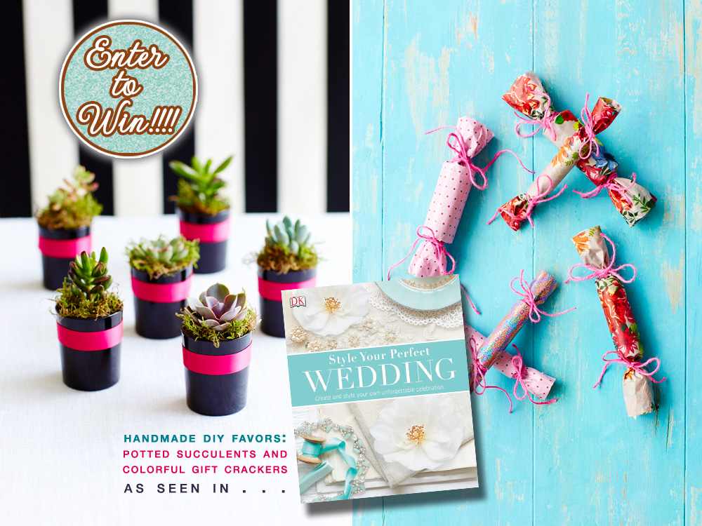 handmade diy wedding favors | potted succulents and colorful gift crackers : ENTER TO WIN your own copy of Style Your Perfect Wedding on www.brendasweddingblog.com