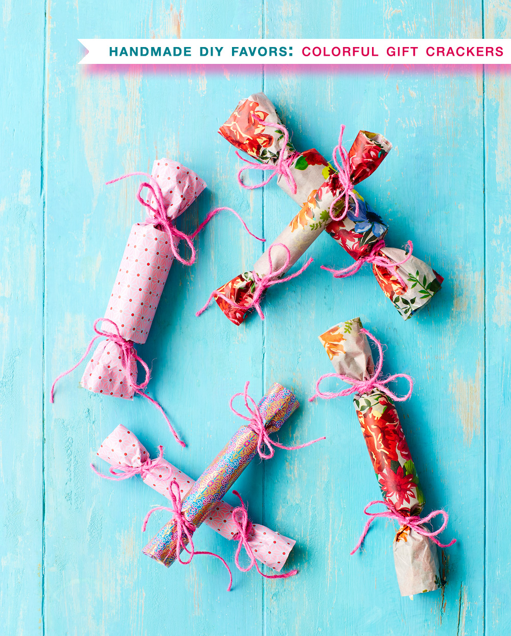 Colorful Gift Crackers : DIY Handmade Party Favors / find the how to at www.BrendasWeddingBlog.com