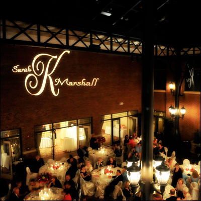 Rent Custom Wedding Gobo Lighting for your special day / as seen on www.BrendasWeddingBlog.com
