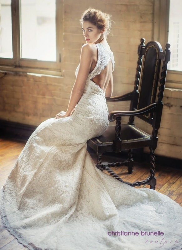 Open-Back All Lace Wedding Dress by Christianne Brunelle Couture / as seen on www.BrendasWeddingBlog.com