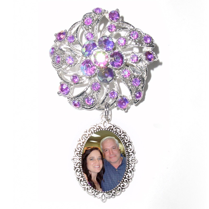 Memorial Photo Brooch Charm in Elegant Iridescent Purple Crystal Gems and Silver - from Stained Glass Addie / as seen on www.BrendasWeddingBlog.com