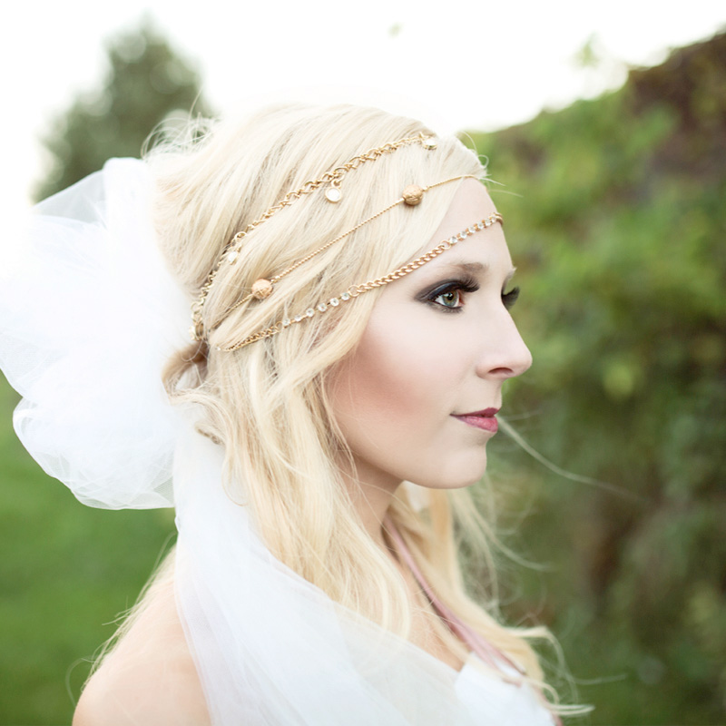 Gorgeous Portrait of a Bride with a Necklace Turned into a Bridal Headpiece / photo by Morgan Lindsay Photography / as seen on www.BrendasWeddingBlog.com