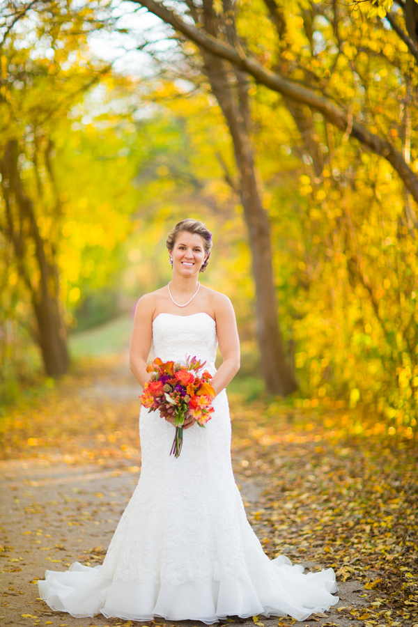 Stunning Bridal Portrait at the Peak of the Fall Season / photo by Morgan Lindsay Photography / as seen on www.BrendasWeddingBlog.com