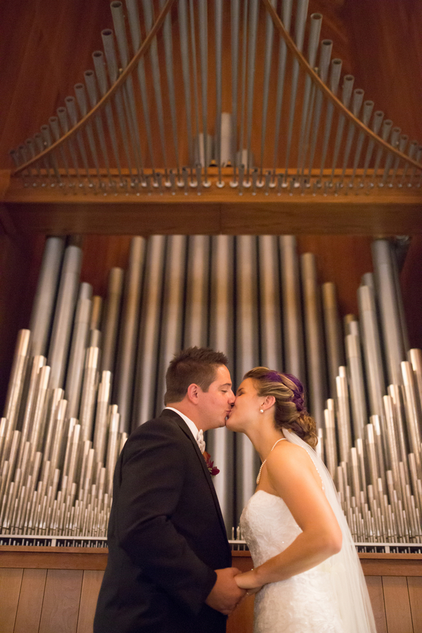 Just Married Photo - Love the Organ in the Background / photo by Morgan Lindsay Photography / as seen on www.BrendasWeddingBlog.com