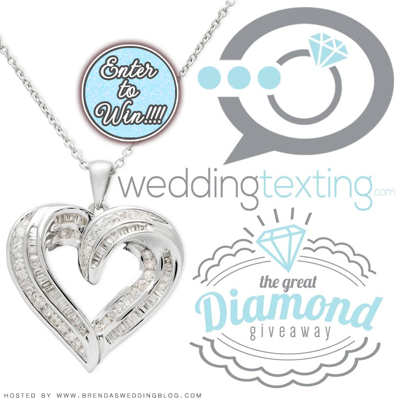 Enter to win in the GREAT diamond giveaway from Wedding Texting on www.BrendasWeddingBlog.com {3 necklaces awarded, $499 retail value each}