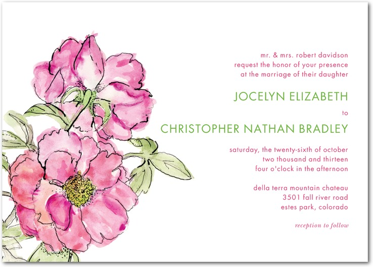 Dreamy Peony Wedding Invitations / as seen on www.BrendasWeddingBlog.com