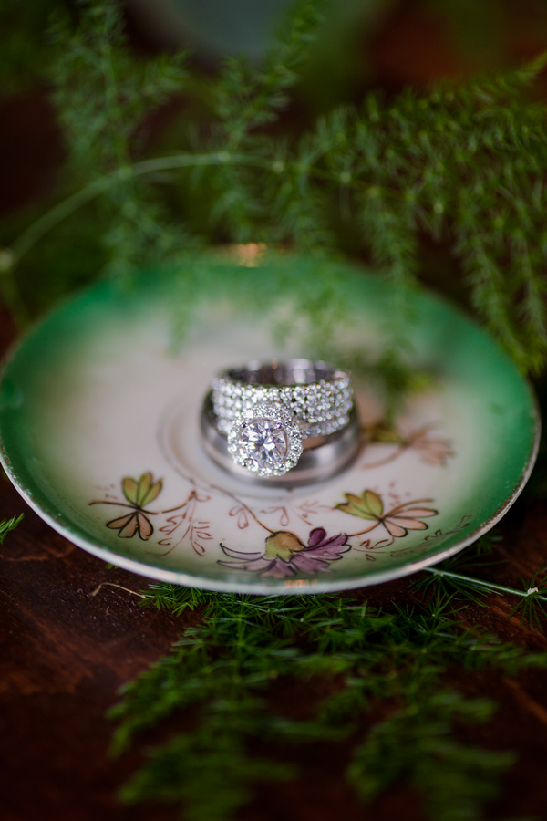 Beautiful Wedding and Engagement Ring display on a vintage plate / photo by Corey Lynn Tucker Photography / as seen on www.BrendasWeddingBlog.com