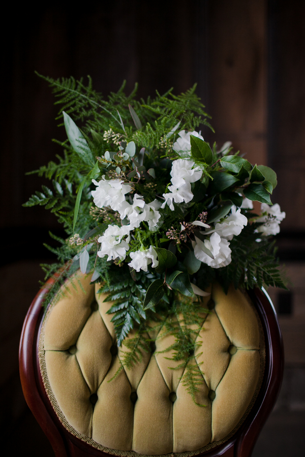 Gorgeous White and Green Spring Wedding Bouquet with Ferns / photo by Corey Lynn Tucker Photography / as seen on www.BrendasWeddingBlog.com