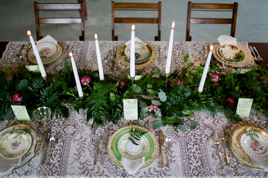 Vintage Inspired Wedding Table Setting / photo by Corey Lynn Tucker Photography / as seen on www.BrendasWeddingBlog.com