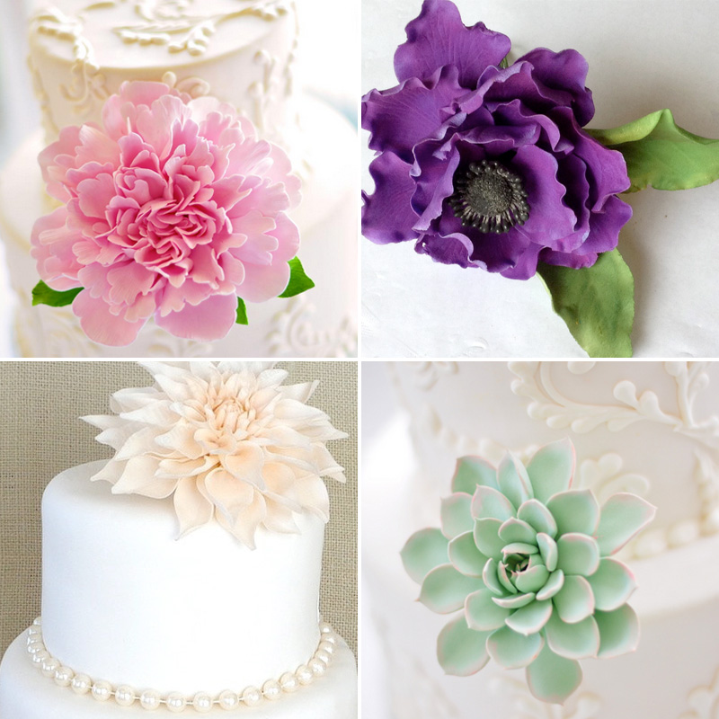 Dress Up Your Wedding Cake with One Large Single Everlasting Flower - makes great keepsakes {made with clay or sugar paste} / as seen on www.BrendasWeddingBlog.com