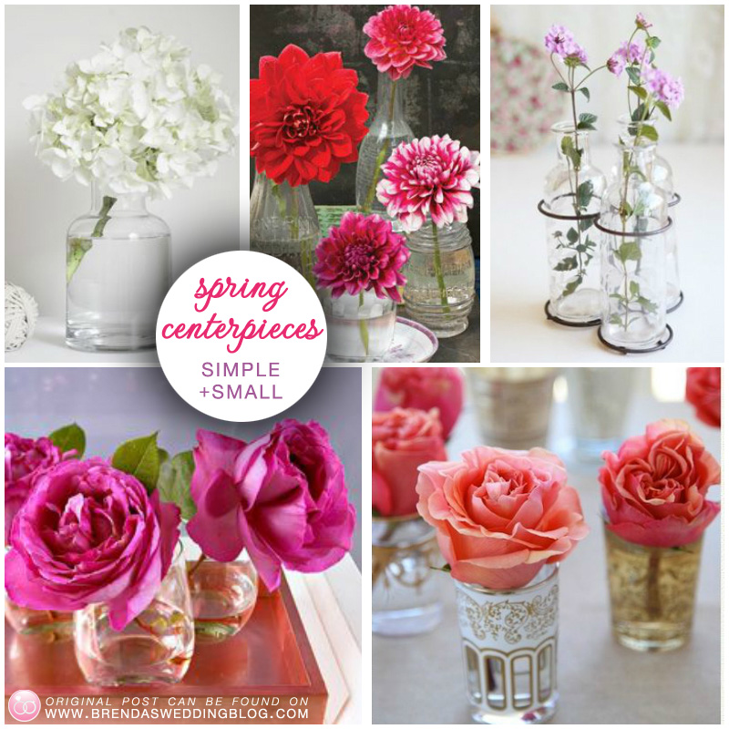 Spring Wedding Flowers : simple and sweet floral centerpieces for the spring season / as seen on www.BrendasWeddingBlog.com