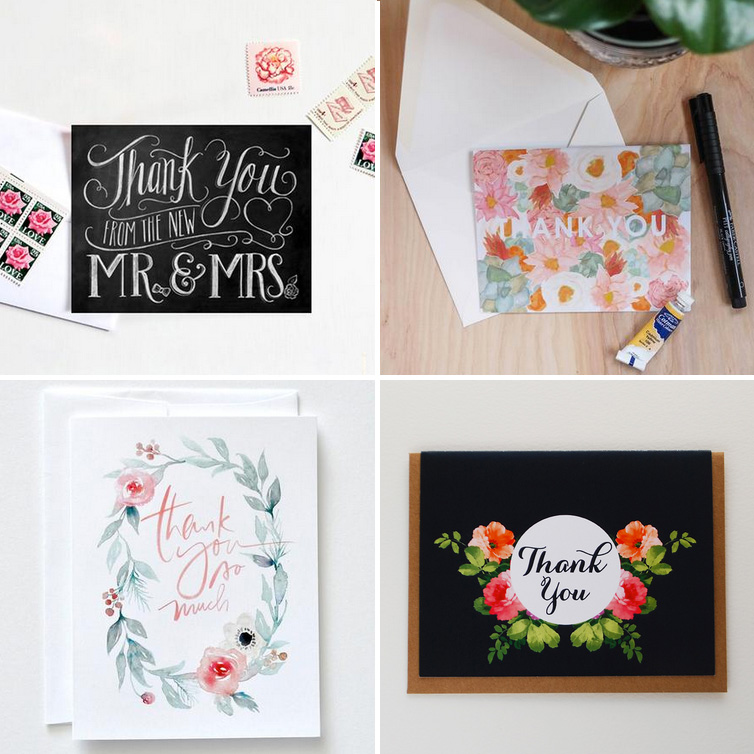 Wedding Thank You Cards - pretty choices to thank your wedding guests for their gifts / as seen on www.BrendasWeddingBlog.com