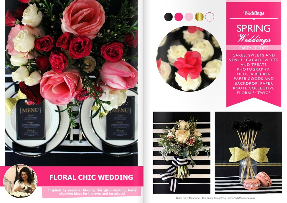 Glam Floral Chic Wedding Ideas In Pink Black And White
