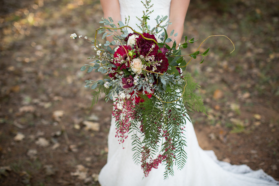 Cascading Organic Wedding Bouquet by Dream Design / photo by Ashley Cook Photography / as seen on www.BrendasWeddingBlog.com